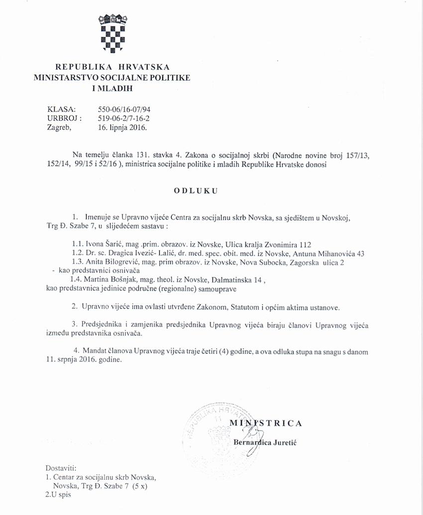 izvorna odluka o imenovanju upravnog vijeća Centra za socijalnu skrb Novska