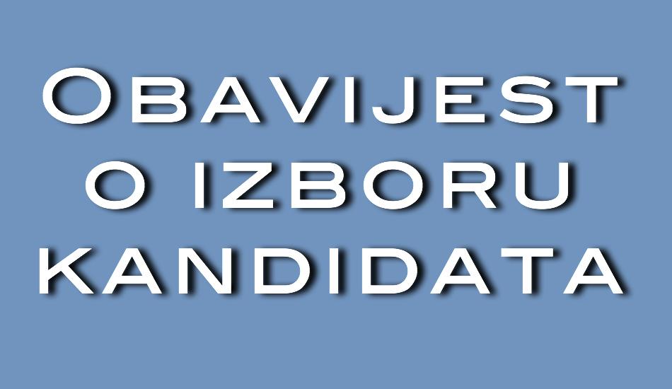 Obavijest o izboru kandidata - tekst